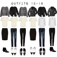 """""""Outfits 12-18 from the 5 Item French Wardrobe"""" by designismymuse on Polyvore"""