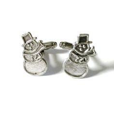 Snowman Cufflinks Silver OR Gold Mens Handcrafted by Lynx2Cuffs