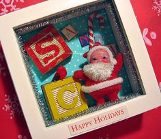 Cute Little Santa Shadow Box. . . ho ho ho! Could do this for any holiday with Goodwill finds!
