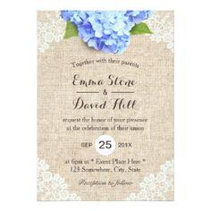Rustic Blue Hydrangea Fl Lace Burlap Wedding Card