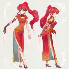 Pyrrha in a Qipao (China) dress