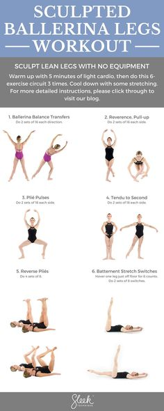 Sculpted Ballerina Legs Workout. Use traditional ballet movements to sculpt lean legs with no equipment. www.sleektechnique.com #sleektechnique #sleekers #ballet #workout