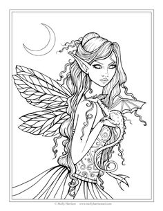 "Free Fairy and Dragon Coloring Page by Molly Harrison Fantasy Art ""Amethyst Dragon"" Blank Coloring Pages, Coloring Pages For Grown Ups, Mermaid Coloring Pages, Adult Coloring Book Pages, Printable Adult Coloring Pages, Coloring Sheets, Coloring Books, Amy Brown Fairies, Dragon Coloring Page"