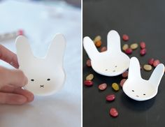 DIY bunny bowls out of air dry clay for easter on aliceandlois.com