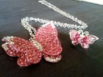 Gorgeous Pink Butterfly Crystal Necklace and Matching Ring Set