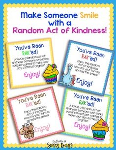 Spread some joy around your school with a random act of kindness! This set of tags makes it easy and fun to bring some  smiles to your coworkers :)