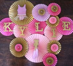 Ballerina Theme Paper Rosettes- Set of 13, Ballerina Birthday, Ballerina Baby Shower, Tutu Party, Pink and Gold Birthday, Ballerina Backdrop by LanvisB on Etsy https://www.etsy.com/listing/217646106/ballerina-theme-paper-rosettes-set-of-13
