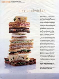 Tea Sandwiches ~ for the ladies at tea. [This is a nice read & inspiration for high tea sandwiches. Tee Sandwiches, Tea Party Sandwiches, Gourmet Sandwiches, Tea Recipes, Cooking Recipes, Biscuits, Afternoon Tea Parties, Christmas Tea, Tea Cakes