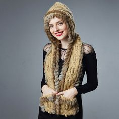 Rabbit fur knit hat scarf and gloves all in one for women