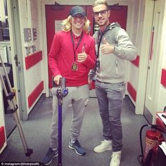 Jordan Henderson (right) and Lucas Leiva disguised themselves to go undercover at the Live...