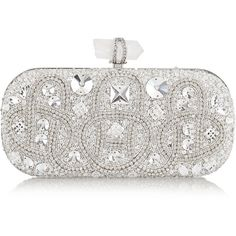 Marchesa Lily medium Swarovski crystal-embellished satin box clutch ($3,295) ❤ liked on Polyvore featuring bags, handbags, clutches, purses, bolsas, silver, hardcase clutch, handbag purse, chain-strap handbags and white satin purse