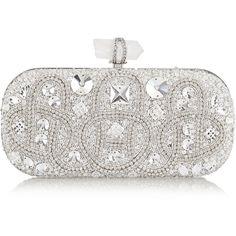 Marchesa Lily medium Swarovski crystal-embellished satin box clutch ($3,295) ❤ liked on Polyvore