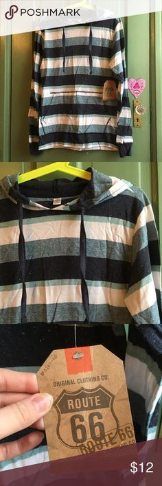 """NEW Men's Route 66 Striped Lightweight Pullover New with tags """"Young Mens""""/mens size small pullover by Route 66. Retails $22. Stripes and marled design. 85% cotton, 15% polyester. No flaws. Route 66 Sweaters"""