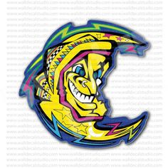 Valentino Rossi Motorcycle Racer Moon Sticker for - Stickers Motorcycle Valentino Rossi, Motorcycle Stickers, Motorcycle Racers, Vr46, Motogp, Bike, Stuff To Buy, Branding, Bicycle Kick