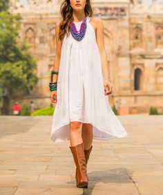 Another great find on #zulily! White Shirred Hi-Low Dress by NOVICA #zulilyfinds