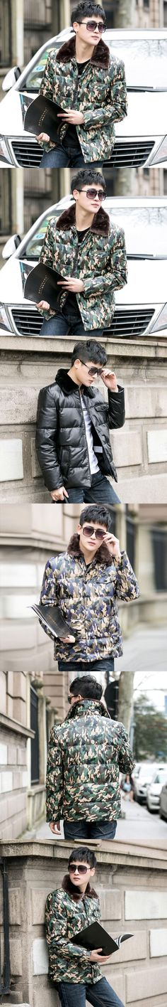 2017 Men Fashion Camouflage Genuine Leather Down Jacket Real Sheepskin Winter Thick Casual Leather Down Coat XXXL FREE SHIPPING