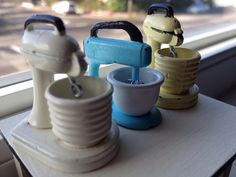 Vintage mini mixers by It's a miniature life...is playing with clay, via Flickr
