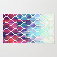 Moroccan Meltdown - pink, purple & aqua painted tiles Rug by Micklyn - $28.00