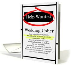 AJ and Luke- Humorous Wedding Usher Invitations Help Wanted Ad Cards