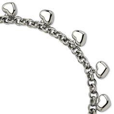 Stainless Steel Polished Hearts 8in Bracelet SRB598