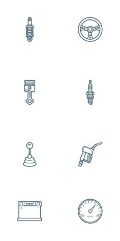 Free Car Parts Outline Icon Set | PSD, AI (1 MB) | oxygenna.com | #free #vector