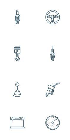 Free Car Parts Outline Icon Set | PSD, AI (1 MB) | oxygenna.com | #free #vector