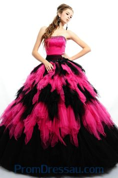 Strapless Beading Corset Black and Fuschia Organza Quinceanera Gown