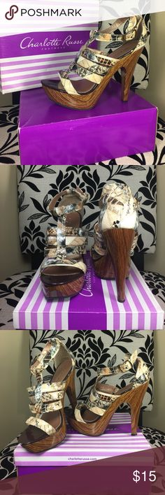 Charlotte Russe heels 👠 Charlotte Russe strappy heel. Gently used. Comes with shoe 👠 box 📦 Charlotte Russe Shoes Heels