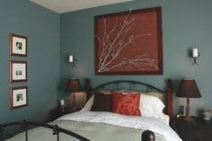 Painted cherry branch stapled to wallpaper stapled to the wall w/frame. It's the little things that make a house a home...: Before and After - Master Bedroom...