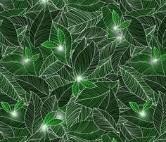 green fairy lanterns fabric by vo_aka_virginiao, available from Spoonflower