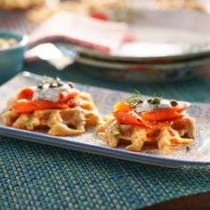 """Everything"" Savory Potato Waffles with Smoked Salmon by Valerie Bertinelli Potato Waffles, Savory Waffles, Pancakes And Waffles, Food Network Recipes, Gourmet Recipes, Cooking Recipes, Healthy Recipes, Breakfast Bread Recipes, Breakfast Dishes"