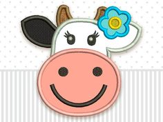 Cow Cute Applique Machine Embroidery Design for by EmbroideryLand