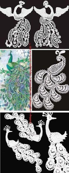 Crochet - Heat - birds in Irish lace. Discussion on LiveInternet - Russian Service Online Diaries Crochet Birds, Crochet Art, Thread Crochet, Crochet Motif, Crochet Flowers, Russian Crochet, Irish Crochet, Lace Patterns, Crochet Patterns