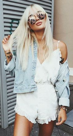 how to pair a white romper with a denim jacket