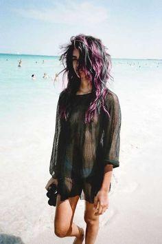 black and purple hair