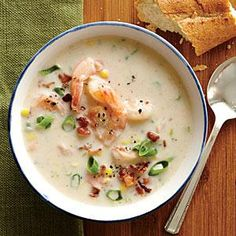 Shrimp and corn chowder. Serve this hearty chowder with a crusty baguette. Use fresh corn, if available.