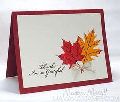 Thankful Leaves (MFT), Ink:  Pumpkin Pie, Cajun Craze, Cherry Cobbler, Real Red, Early Espresso (SU!), Mama Mo Stamps