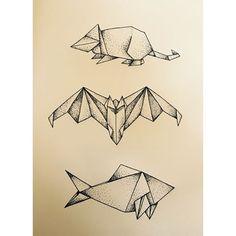 #origami #animals #fish #rat #bat #animales #pez #murcielago #raton #design #drawing #diseño #dibujo #dotwork #tbh #illadearousa