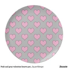 Pink and grey valentine hearts pattern plate