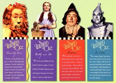 Bookmarks show the characters of the motion picture from 1939, one of the most famous movies ever made:  Cowardly Lion (Bert Lahr)  Dorothy (Judy Garland)  Toto, Scarecrow (Ray Bolger)  Tin Man (Jack Haley)