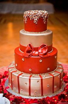 Red & Silver Metallic Cake - California Weddings: http://www.pinterest.com/fresnoweddings/