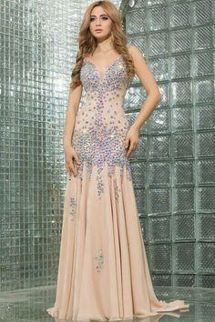 Meerjungfrau V-Ausschnitt Chiffon Reißverschluss luxus Abendkleid mit Kristall