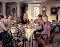 The Glory of Russian Painting: Nikolay Bogdanov-Belsky the breakfast Russian Painting, Russian Art, Tee Kunst, Gauguin, Mary Cassatt, Tea Art, Art Database, Henri Matisse, Art Studies