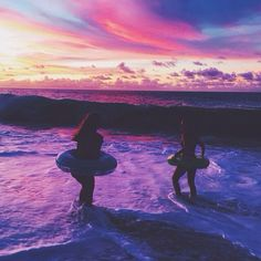 activities, beach, best friends, floaties, laguna beach, silhouettes, summer, summer fun, summertime, sunset, tide pools, purple sky's