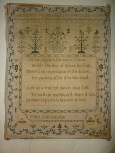 Early 19th century sampler with a rather grim message.