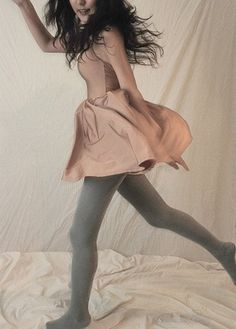 american apparel: nylon tricot figure skater dress & grey stockings.