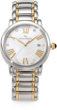 david yurman diamond 18k gold stainless steel watch in silver silvergold