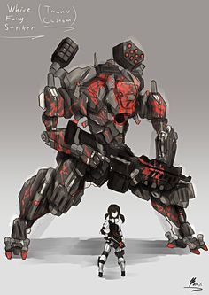 White Fang Striker RWBY OC<—— soo is this like a crossover of RWBY and Titanfall Robot Concept Art, Armor Concept, Weapon Concept Art, Character Concept, Character Art, Character Design, Robot Militar, Titanfall Game, Arte Gundam