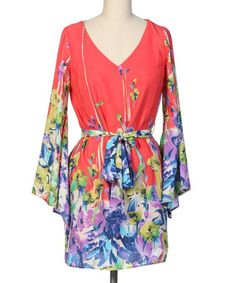Coral & Purple Belted Bell-Sleeve Dress by Hello Miss #zulily #zulilyfinds