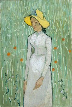 """Girl in white"" (Auvers. Late June 1890) [F788] By Vincent van Gogh (Dutch, 1853-1890) oil on canvas mounted on panel; 48.9 x 66; 19.3 × 26 in. © National Gallery of Art, Washington D.C., US Chester Dale Collection, 1963"